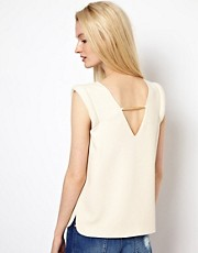 BA&SH Low Back Shell Top with Roll Shoulder Detail