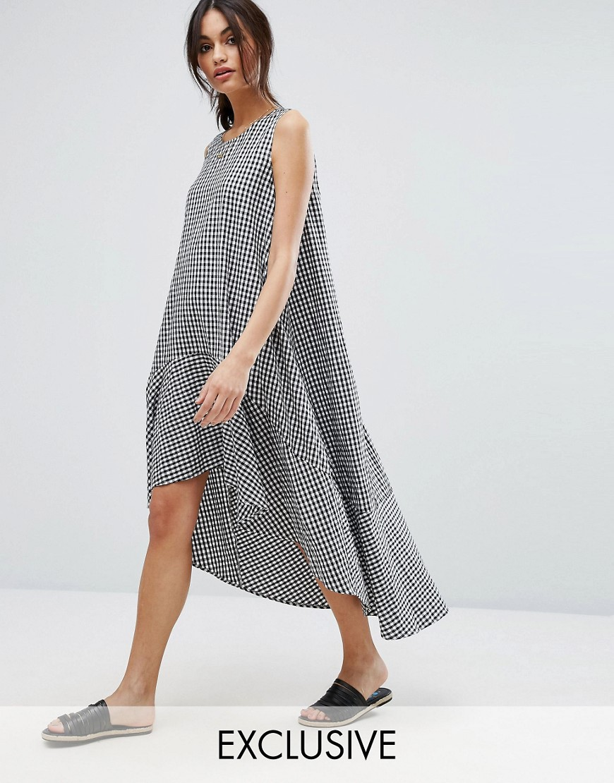 Vero Moda Gingham Oversized A Line Smock Dress - Multi