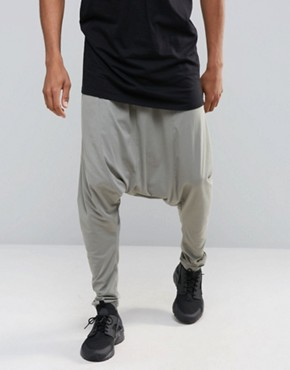 ASOS Extreme Drop Crotch Joggers In Lightweight Fabric In Light Grey