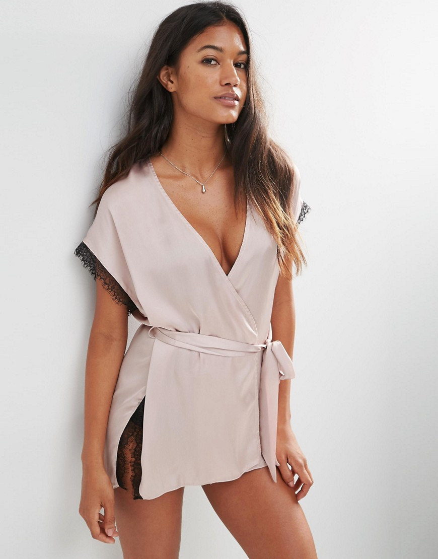 Asos asos lace wrap satin lace mini robe at asos for Robe fleurie asos