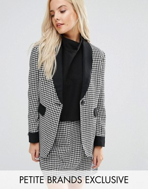 Fashion Union Petite Houndstooth Print Blazer With Contrast Detail Co-Ord