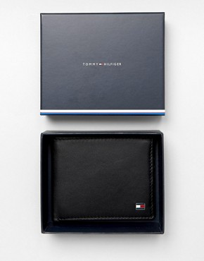 Tommy Hilfiger Eton Mini Billfold Leather Wallet In Black