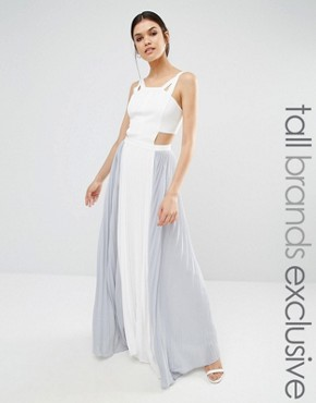 True Decadence Tall Cut Out Maxi Dress With Contrast Pleated Skirt