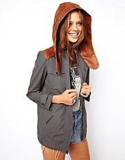 ASOS Premium Parka With Leather Hood