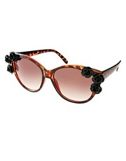 ASOS Cat Eye Sunglasses With Flower Corner Embellishment