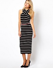 Ted Baker Striped Midi Dress with Cross Over Neck and Belt