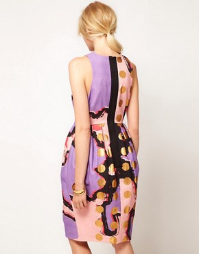 Image 2 ofASOS BLACK Tulip Dress In Spot Print