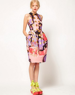 Image 4 ofASOS BLACK Tulip Dress In Spot Print