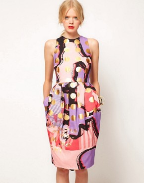 Image 1 ofASOS BLACK Tulip Dress In Spot Print