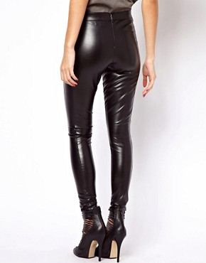 Image 2 ofASOS Skinny Trousers In Leather Look