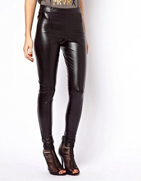 Image 4 ofASOS Skinny Trousers In Leather Look