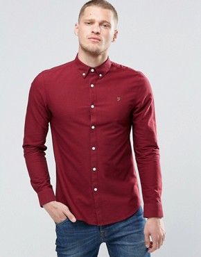 Farah Oxford Shirt In Slim Fit Port