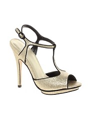 Carvela Lucy Gold Glitter T-Bar Sandal