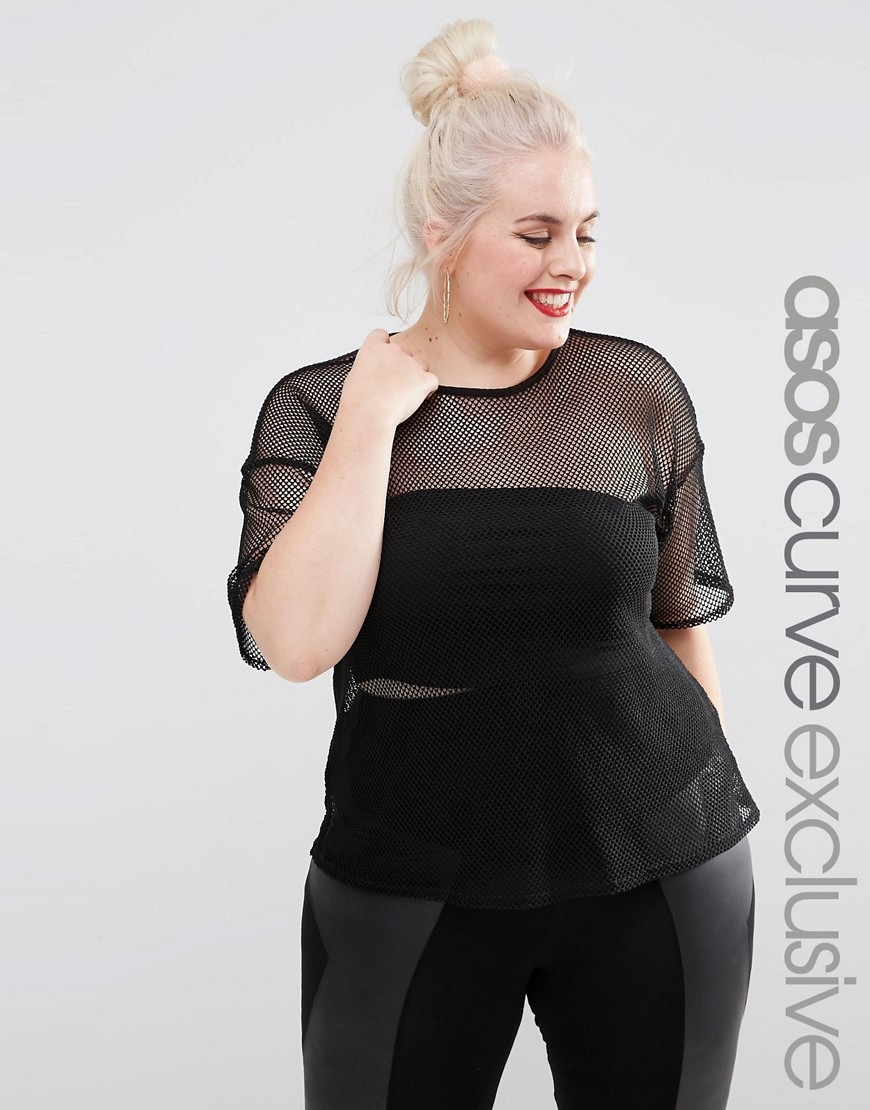 Image 1 of ASOS CURVE T-Shirt In All Over Net Mesh Jersey