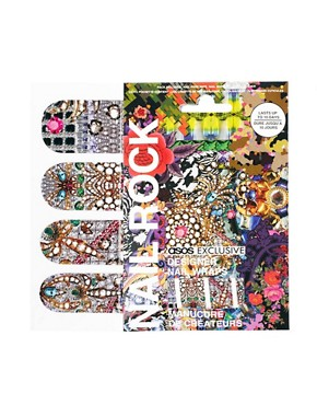 Image 1 ofNail Rock ASOS Exclusive Encrusted Jewel Print Nail Wraps