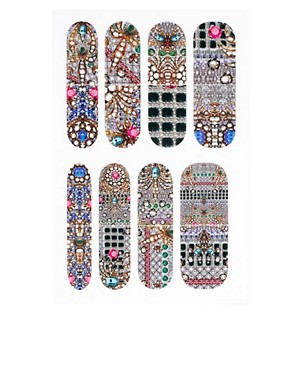 Image 2 ofNail Rock ASOS Exclusive Encrusted Jewel Print Nail Wraps