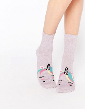 ASOS Glittery Unicorn Face Ankle Socks