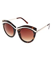 ASOS Round Sunglasses With Built Up Highbrow