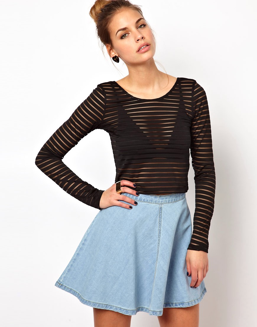 Glamorous Black Long-Sleeve Crop Top with Mesh Stripe from ASOS