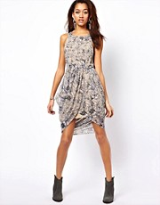 Religion Printed Dress With Rouched Skirt