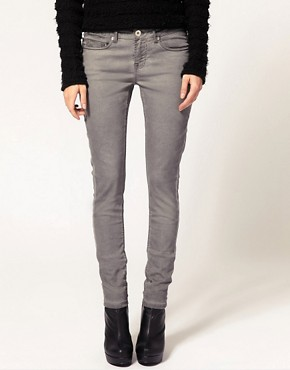 Image 1 ofASOS Grey Skinny Jeans With Pigment Wash #4