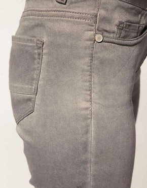 Image 3 ofASOS Grey Skinny Jeans With Pigment Wash #4