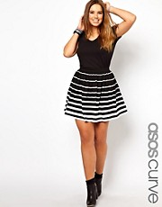 ASOS CURVE Exclusive Skater In Variegated Stripe
