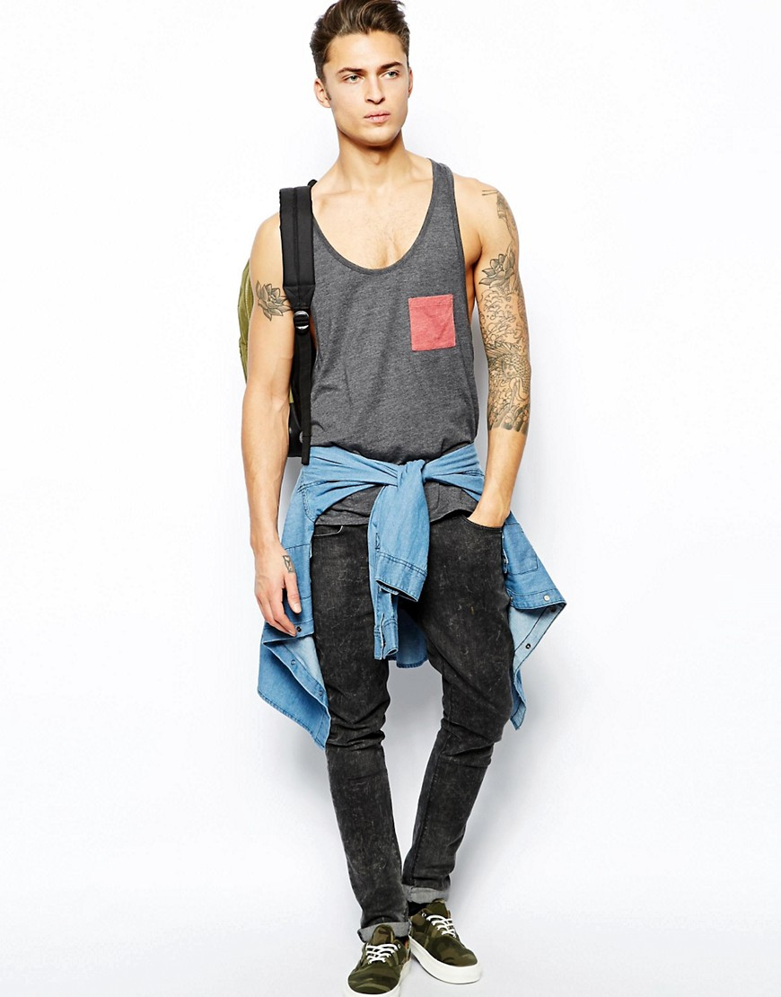 Image 4 of ASOS Vest With Contrast Pocket And Extreme Racer Back