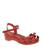 Swedish Hasbeens Papillon Red Flat Sandals