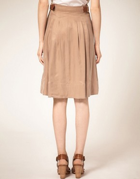 Image 2 ofTed Baker Leather Trim Full Skirt