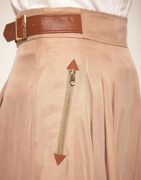 Image 3 ofTed Baker Leather Trim Full Skirt