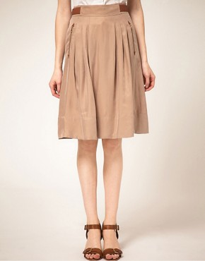 Image 4 ofTed Baker Leather Trim Full Skirt