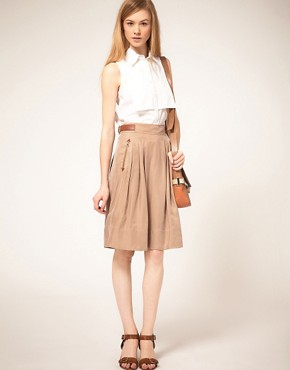 Image 1 ofTed Baker Leather Trim Full Skirt