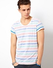 Solid T-Shirt With Stripe Reverse Print