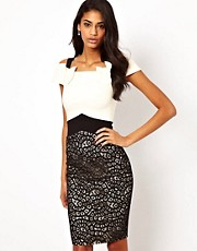 Hybrid Bodycon Dress with Contrast Lace Skirt
