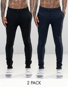 ASOS Loungewear Super Skinny Joggers 2 Pack SAVE 17%