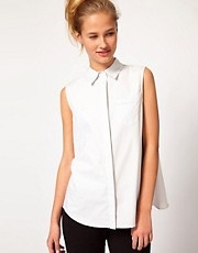 Chalayan Grey Line Sleeveless Drape Back Shirt