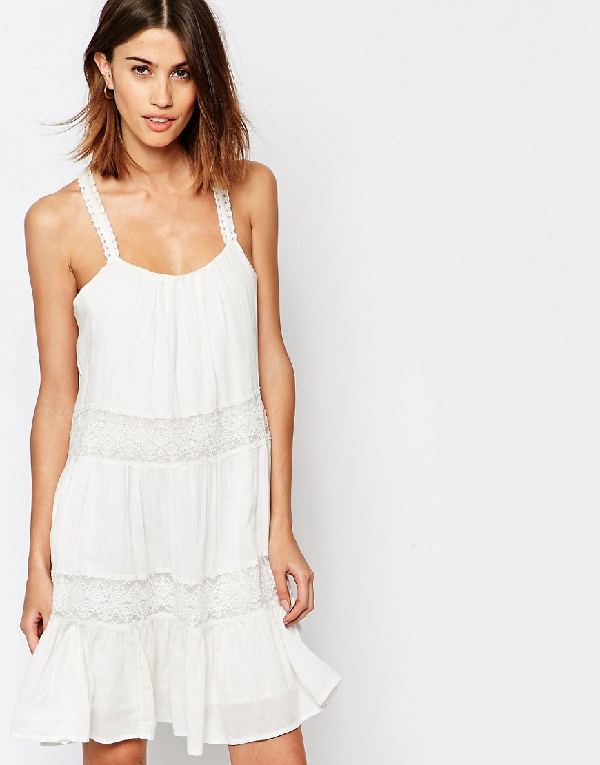 Vila Cami Lace Insert Smock Dress - White