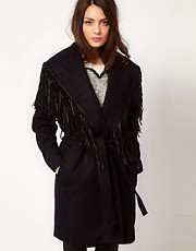 Selected Fringed Wrap Coat