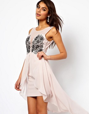 Image 1 of Lipsy Hi Lo Dress with Flower Bust