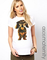 ASOS Maternity Exclusive T-Shirt With Geek Dog