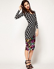 ASOS Bodycon Dress in Floral Border Spot Print
