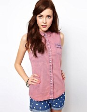 Vero Moda Stone Washed Sleeveless Denim Shirt