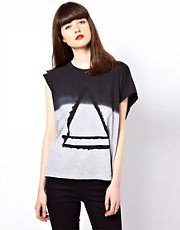 Eleven Paris Assymetric Tee with Triangle Print
