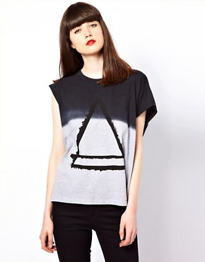 Image 1 ofEleven Paris Assymetric Tee with Triangle Print