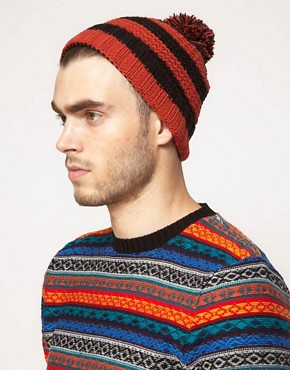 Image 2 ofASOS Rugby Stripe Bobble Beanie