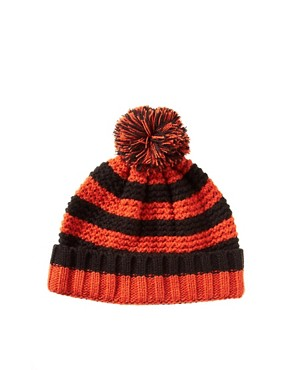 Image 1 ofASOS Rugby Stripe Bobble Beanie