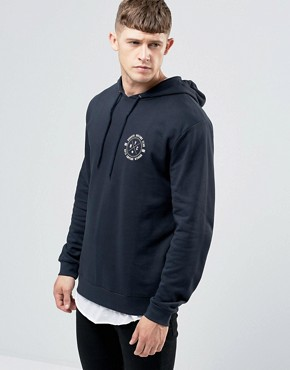 ASOS Hoodie With NYC Chest Print In Navy