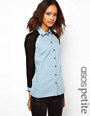 ASOS PETITE Exclusive Denim Shirt With Sheer Panels And Studded Collar