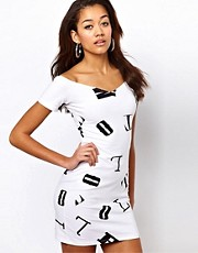 Motel Danielle Dress In Alphabet Print